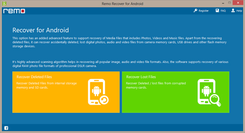 Recover Pictures from SD Card on Android - Home Window